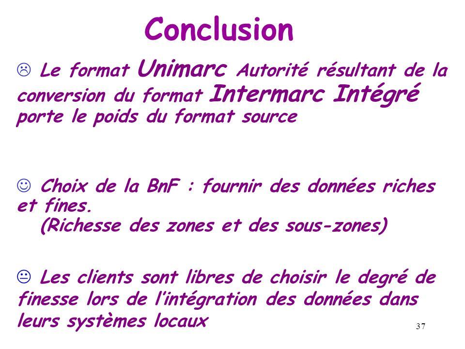 36 Intermarc Intégré Unimarc Zone de lien avec la notice d une oeuvre Zoom sur la conversion dune zone de lien 540 $5z| $7ba0yba0y $8fre 540 $5z| $7ba