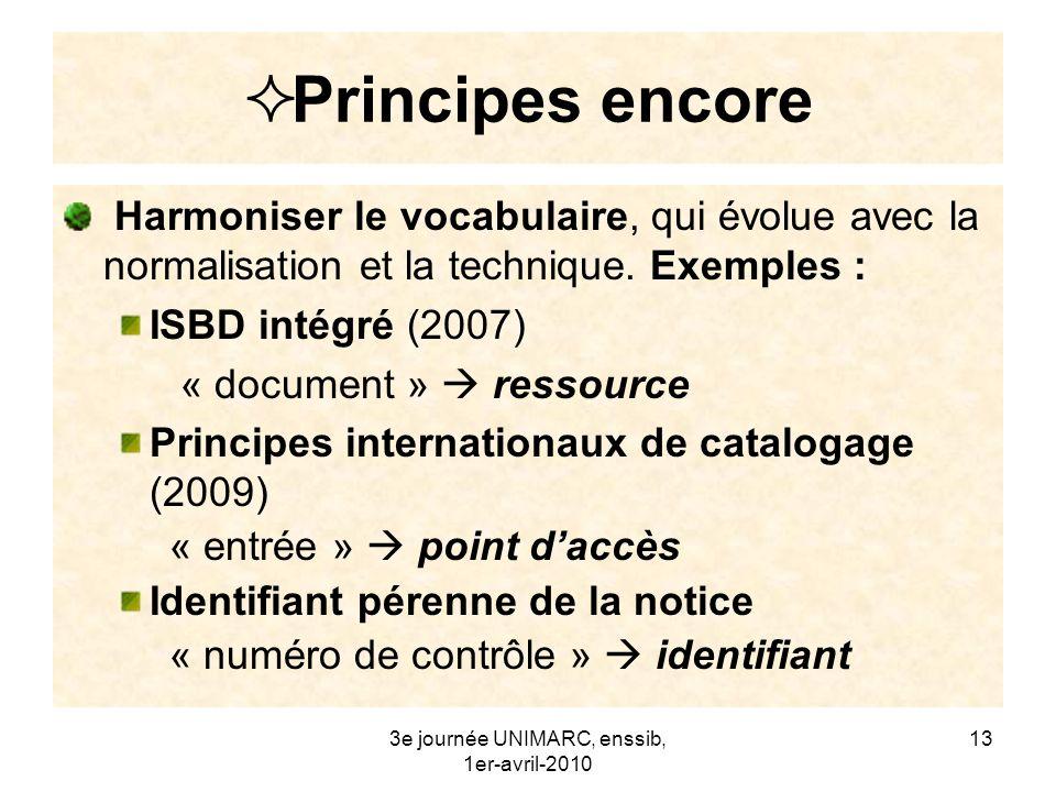 3e journée UNIMARC, enssib, 1er-avril-2010 14 Principes encore Traiter en priorité - les erreurs : ex.