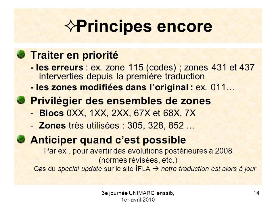 3e journée UNIMARC, enssib, 1er-avril-2010 15 Principes encore Tenir compte dun public très large (UNIMARC est de plus en plus un format de travail) être précis et à jour Exemples : citation des normes « ISO 2709:2008 – Format pour léchange dinformation » liens vers des référentiels en ligne codes de langues, codes de pays…