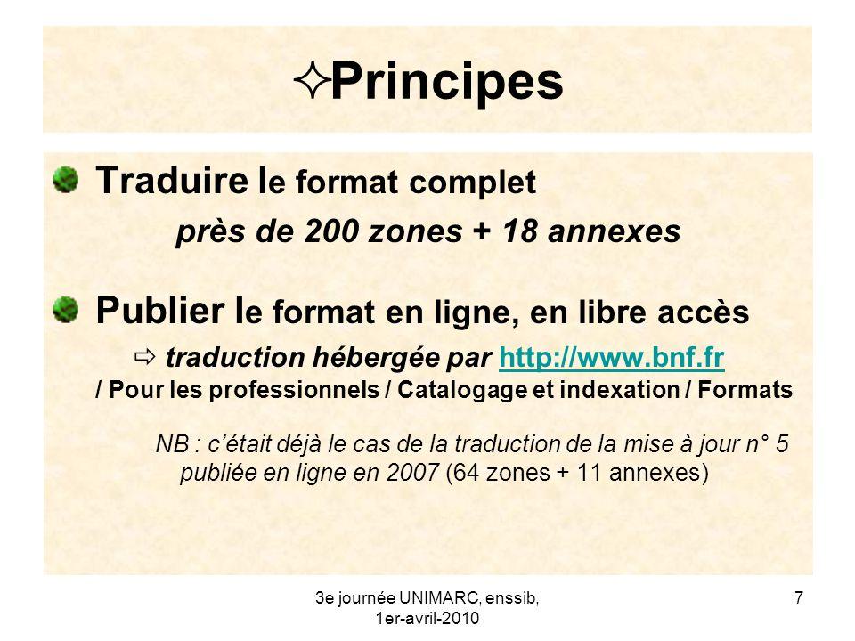 3e journée UNIMARC, enssib, 1er-avril-2010 8 Méthode Un double point de départ : la traduction existante 2006, 5 e édition française + le travail de révision entrepris en 2007 la 3 e édition anglaise (à jour en 2008)