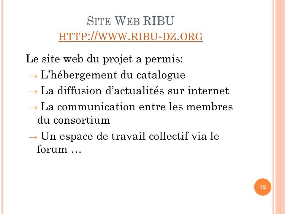 S ITE W EB RIBU HTTP :// WWW. RIBU - DZ. ORG HTTP :// WWW. RIBU - DZ. ORG Le site web du projet a permis: Lhébergement du catalogue La diffusion dactu