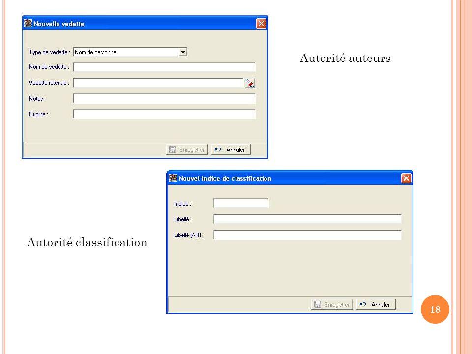 Autorité auteurs Autorité classification 18