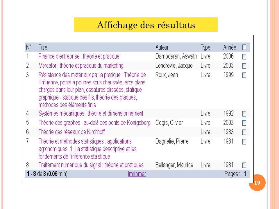 Affichage des résultats 19