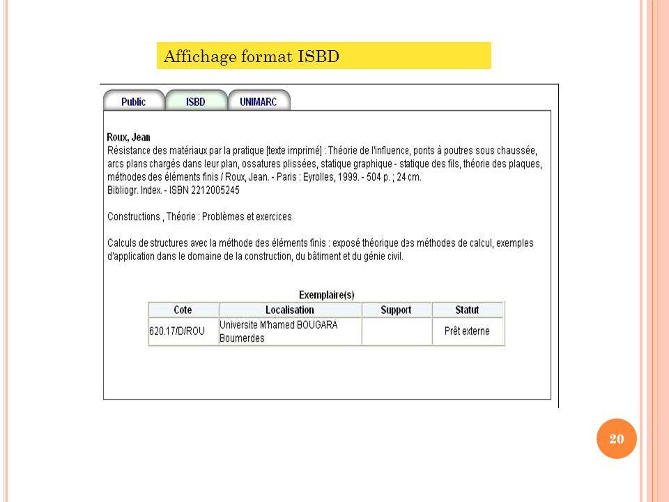 Affichage format ISBD 20