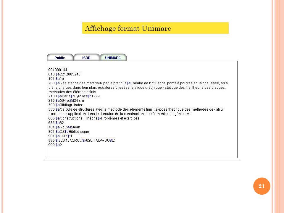 Affichage format Unimarc 21