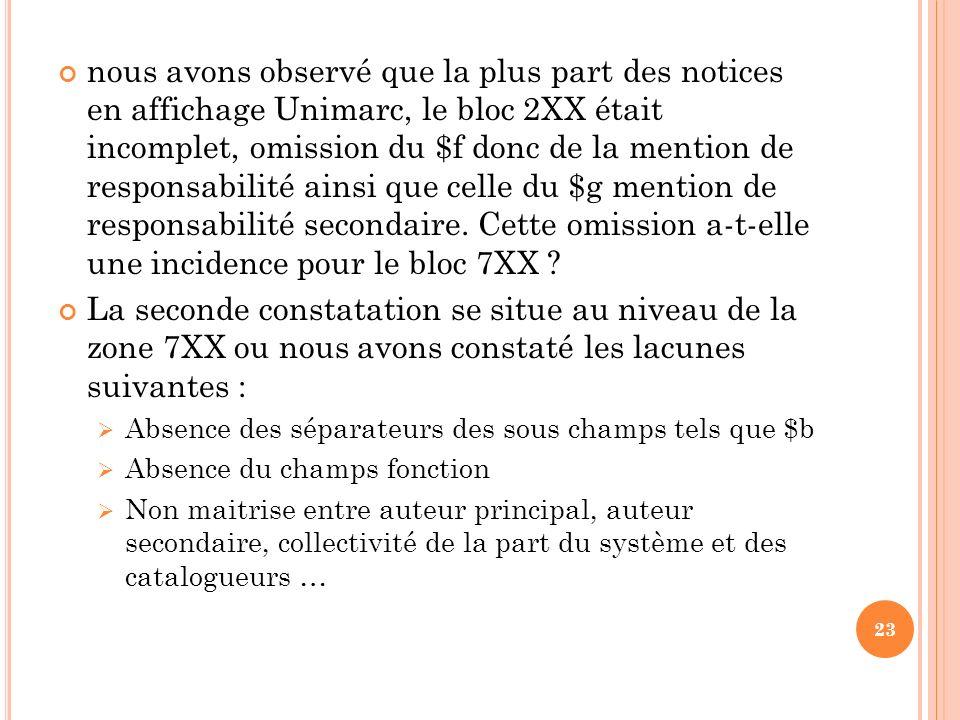 nous avons observé que la plus part des notices en affichage Unimarc, le bloc 2XX était incomplet, omission du $f donc de la mention de responsabilité
