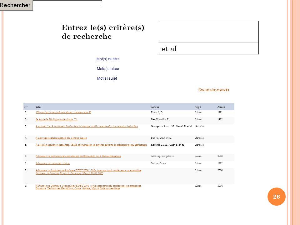 26 N°TitreAuteurTypeAnnée 1.100(cent)groupes industriels et commerciaux 90Evrard, D.Livre1991 2.3e école de Biologie moléculaire. T.1Ben Hamida, F.Liv