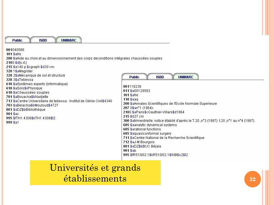 32 Universités et grands établissements