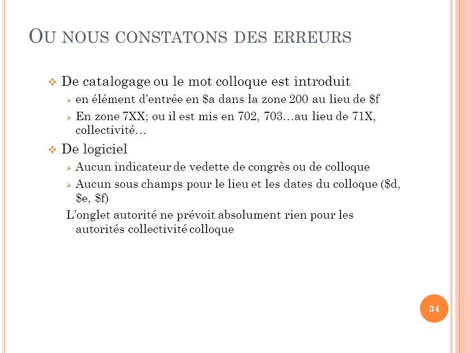 O U NOUS CONSTATONS DES ERREURS De catalogage ou le mot colloque est introduit en élément dentrée en $a dans la zone 200 au lieu de $f En zone 7XX; ou