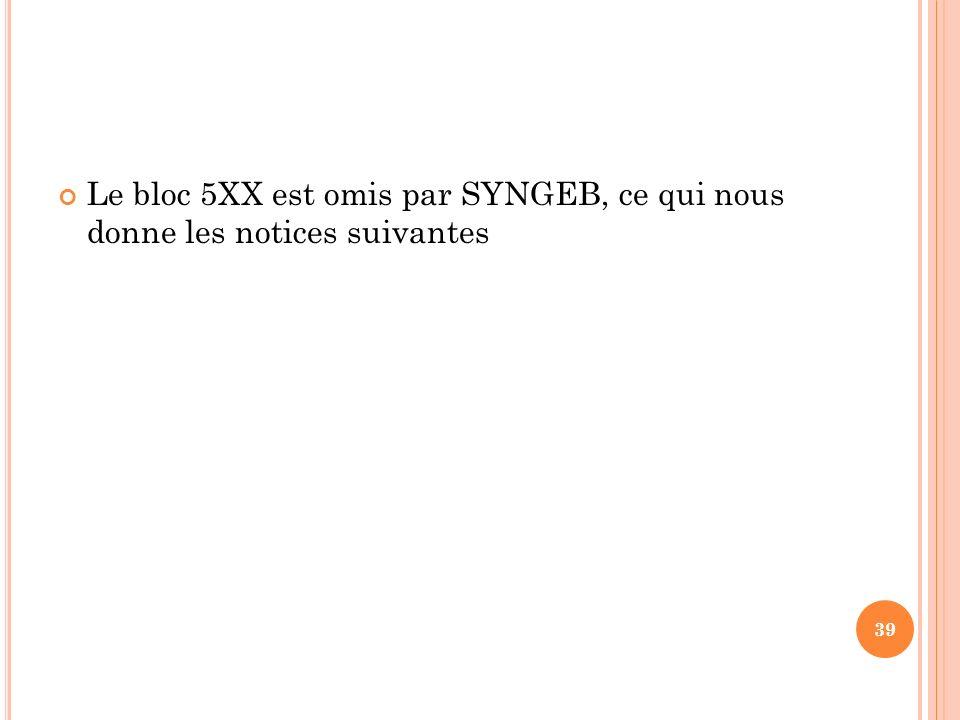 Le bloc 5XX est omis par SYNGEB, ce qui nous donne les notices suivantes 39