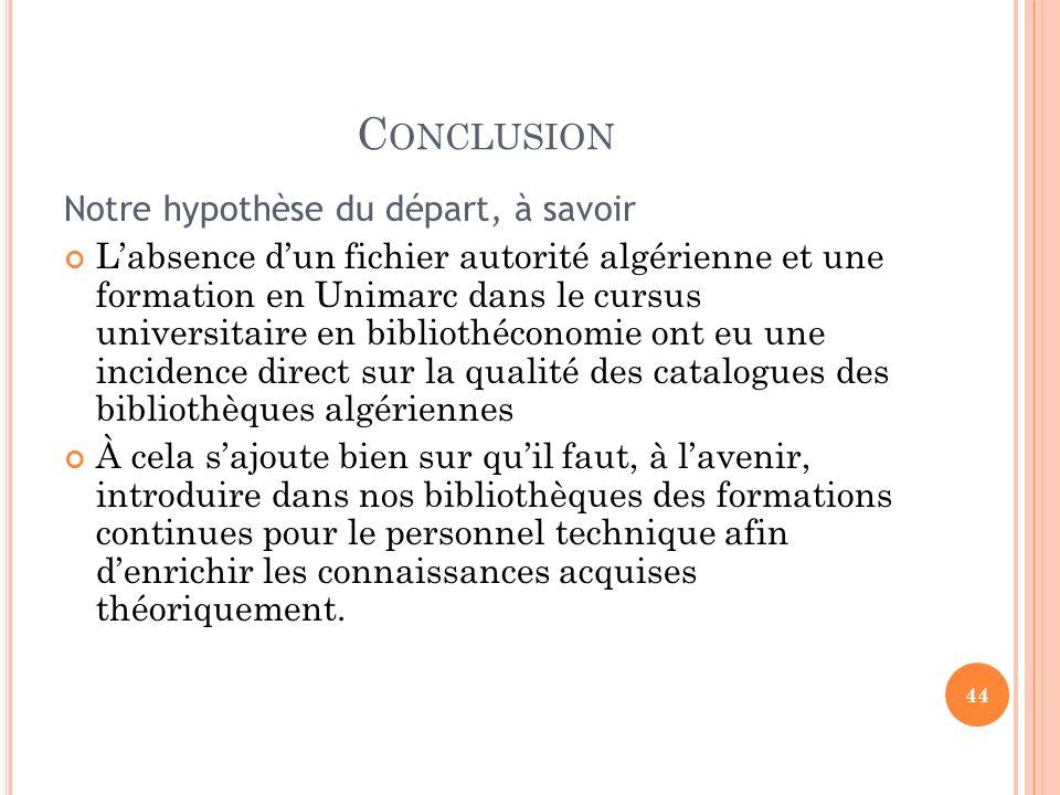 C ONCLUSION Notre hypothèse du départ, à savoir Labsence dun fichier autorité algérienne et une formation en Unimarc dans le cursus universitaire en b