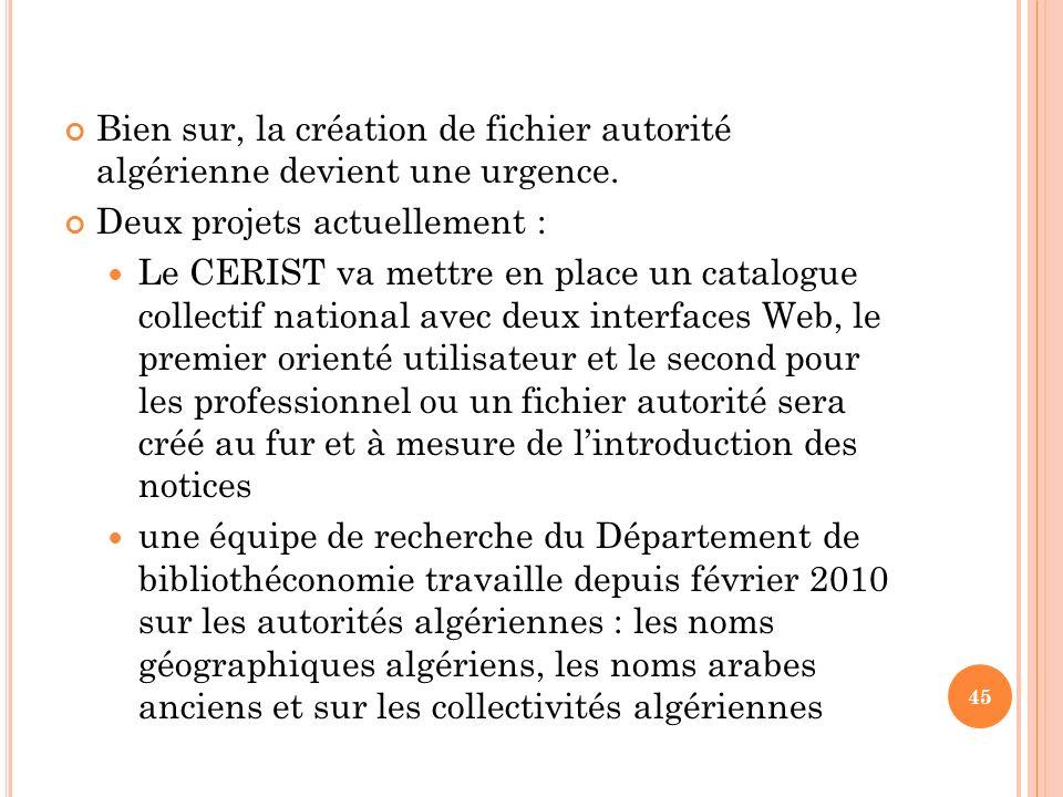 Bien sur, la création de fichier autorité algérienne devient une urgence. Deux projets actuellement : Le CERIST va mettre en place un catalogue collec