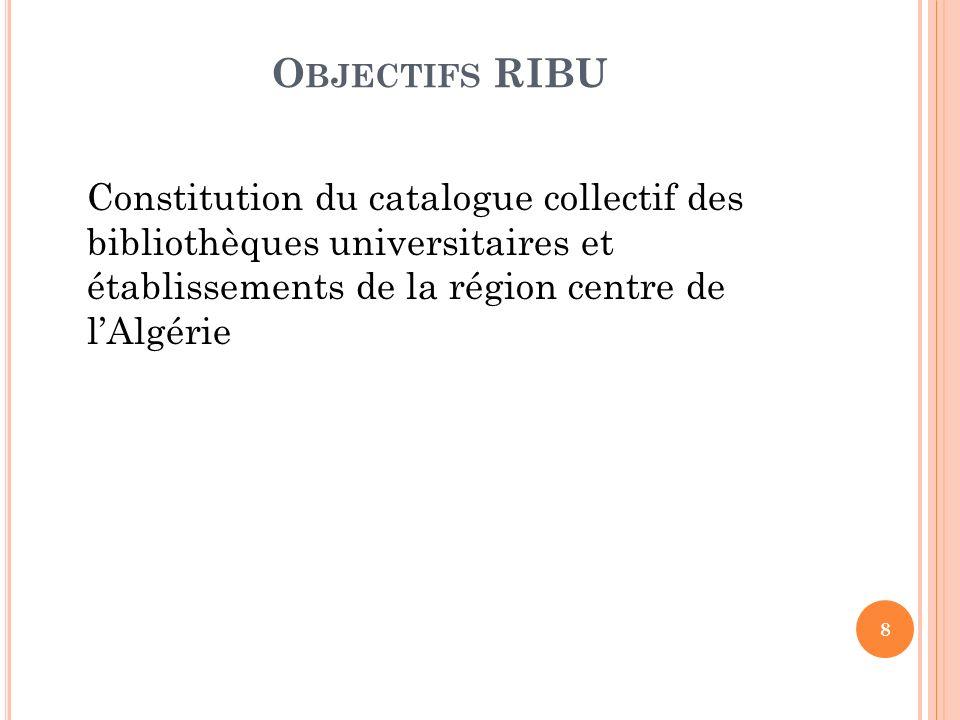 P RÉSENTATION Le catalogue collectif RIBU recense les collections de neuf bibliothèques universitaires de la région centre et la bibliothèque du centre de recherche sur l information scientifique et technique (CERIST).