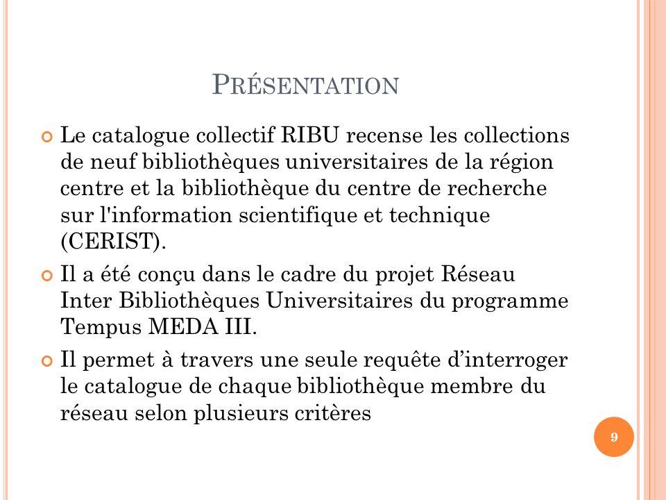 P RÉSENTATION Le catalogue collectif RIBU recense les collections de neuf bibliothèques universitaires de la région centre et la bibliothèque du centr