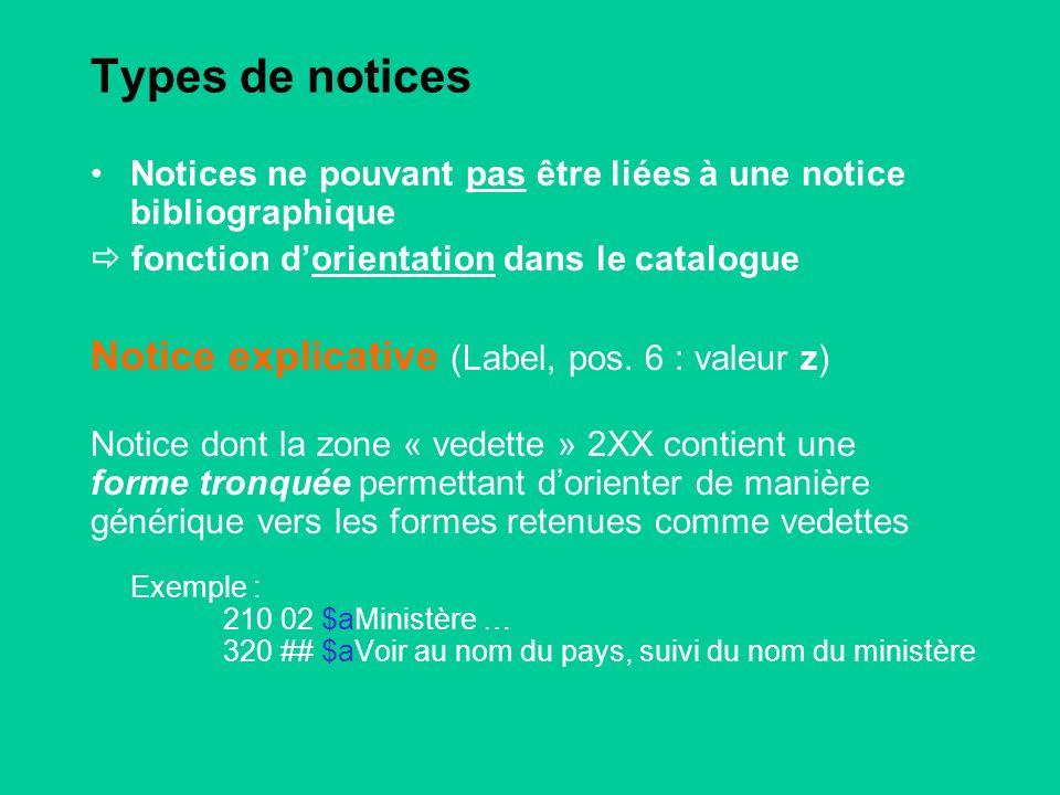 Types de notices Notices ne pouvant pas être liées à une notice bibliographique fonction dorientation dans le catalogue Notice explicative (Label, pos.
