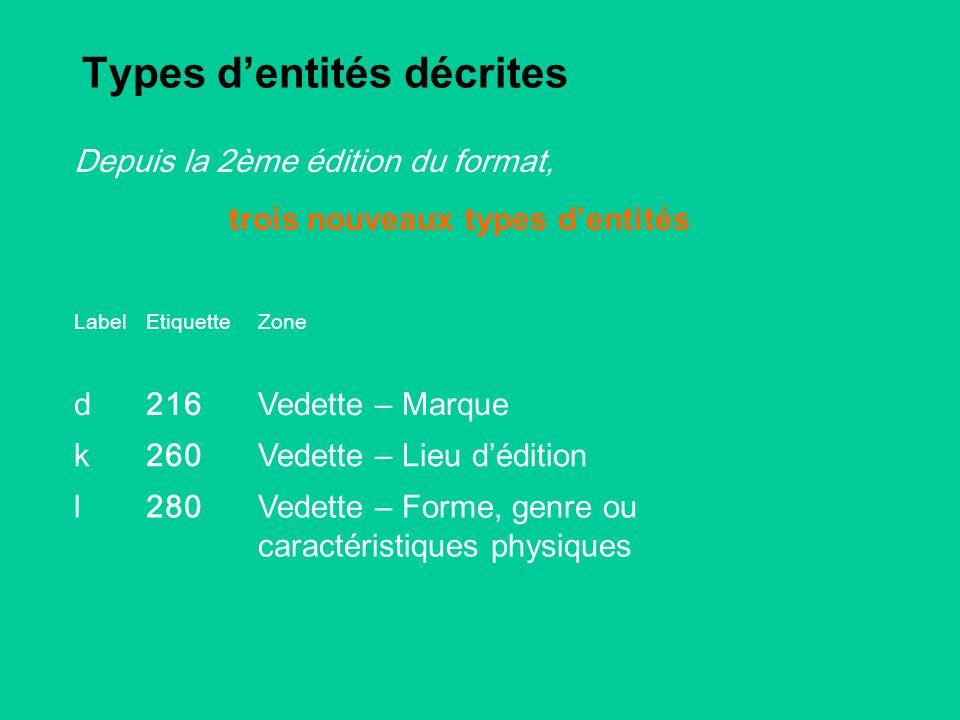 Types dentités décrites LabelEtiquetteZone d216 Vedette – Marque k260 Vedette – Lieu dédition l280 Vedette – Forme, genre ou caractéristiques physiques Depuis la 2ème édition du format, trois nouveaux types dentités