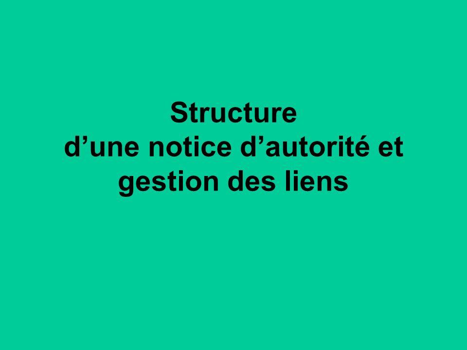 Structure dune notice dautorité et gestion des liens