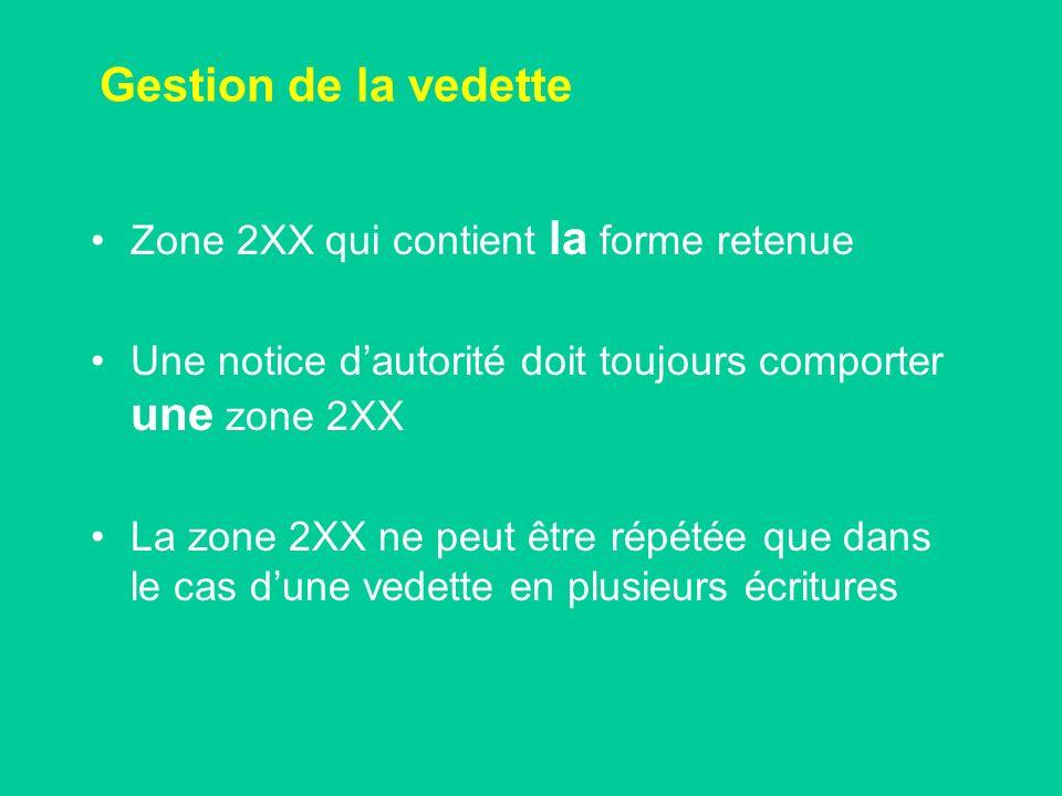 Gestion de la vedette Zone 2XX qui contient la forme retenue Une notice dautorité doit toujours comporter une zone 2XX La zone 2XX ne peut être répétée que dans le cas dune vedette en plusieurs écritures