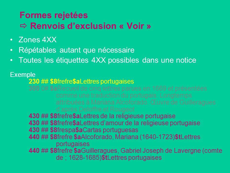 Formes rejetées Renvois dexclusion « Voir » Zones 4XX Répétables autant que nécessaire Toutes les étiquettes 4XX possibles dans une notice Exemple 230 ## $8frefre$aLettres portugaises 300 0# $aRecueil de cinq lettres parues en 1669 et présentées comme une traduction du portugais.