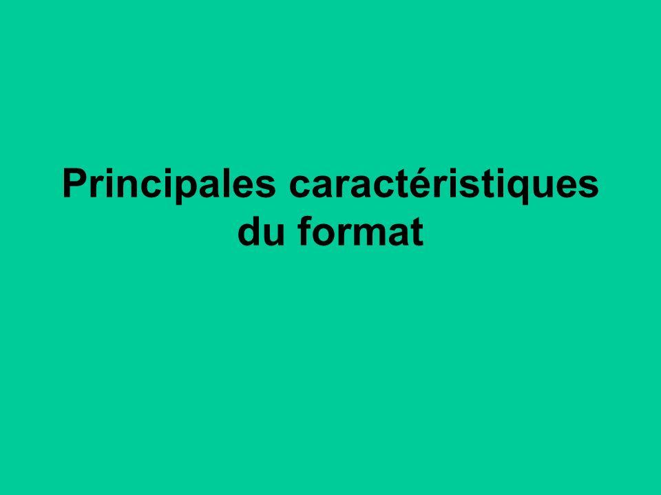 Principales caractéristiques du format