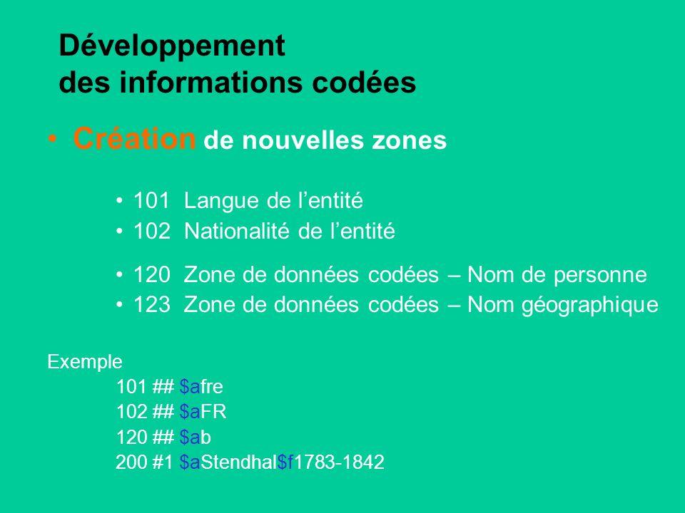 Développement des informations codées Création de nouvelles zones 101Langue de lentité 102Nationalité de lentité 120Zone de données codées – Nom de personne 123Zone de données codées – Nom géographique Exemple 101 ## $afre 102 ## $aFR 120 ## $ab 200 #1 $aStendhal$f1783-1842
