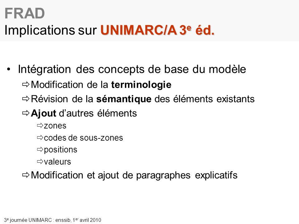 3 e journée UNIMARC : enssib, 1 er avril 2010 Intégration des concepts de base du modèle Modification de la terminologie Révision de la sémantique des éléments existants Ajout dautres éléments zones codes de sous-zones positions valeurs Modification et ajout de paragraphes explicatifs UNIMARC/A 3 e éd.