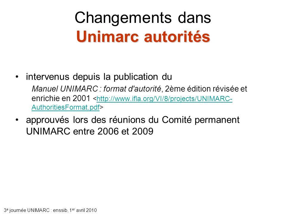 3 e journée UNIMARC : enssib, 1 er avril 2010 Unimarc autorités Changements dans Unimarc autorités intervenus depuis la publication du Manuel UNIMARC : format d autorité, 2ème édition révisée et enrichie en 2001 http://www.ifla.org/VI/8/projects/UNIMARC- AuthoritiesFormat.pdf approuvés lors des réunions du Comité permanent UNIMARC entre 2006 et 2009
