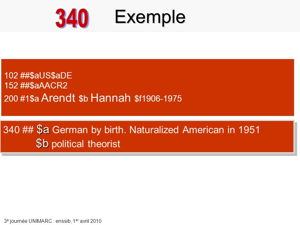 3 e journée UNIMARC : enssib, 1 er avril 2010 102 ##$aUS$aDE 152 ##$aAACR2 200 #1$a Arendt $b Hannah $f1906-1975 $a 340 ## $a German by birth. Natural
