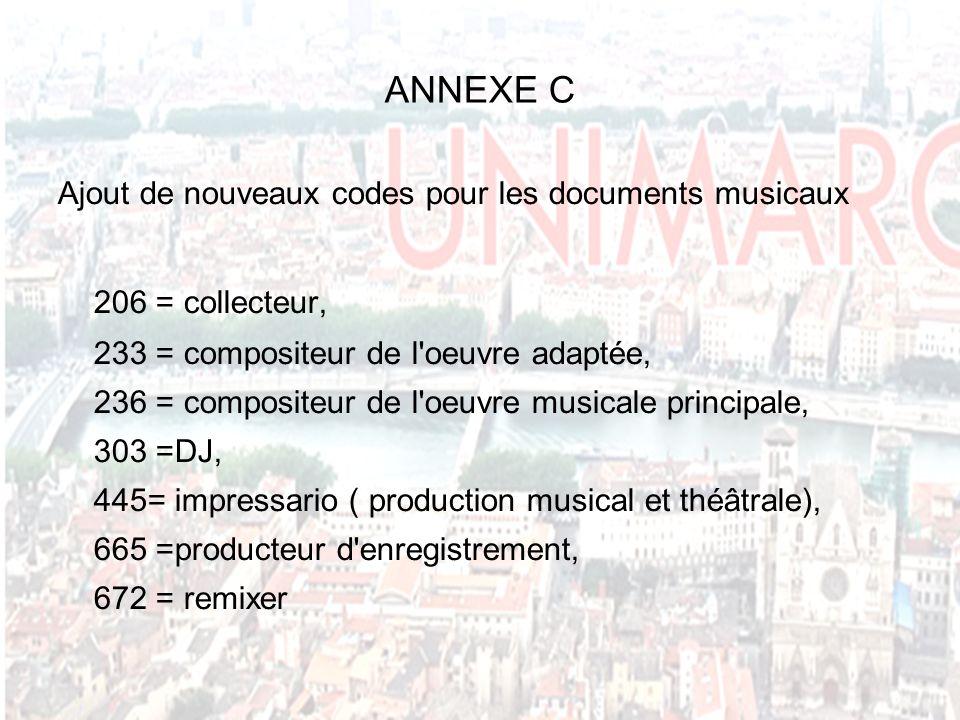 ANNEXE C Ajout de nouveaux codes pour les documents musicaux 206 = collecteur, 233 = compositeur de l oeuvre adaptée, 236 = compositeur de l oeuvre musicale principale, 303 =DJ, 445= impressario ( production musical et théâtrale), 665 =producteur d enregistrement, 672 = remixer