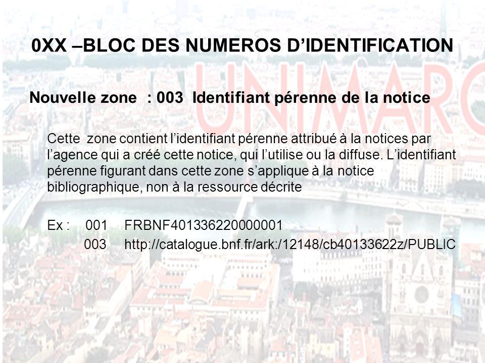 0XX –BLOC DES NUMEROS DIDENTIFICATION Nouvelle zone : 003 Identifiant pérenne de la notice Cette zone contient lidentifiant pérenne attribué à la notices par lagence qui a créé cette notice, qui lutilise ou la diffuse.