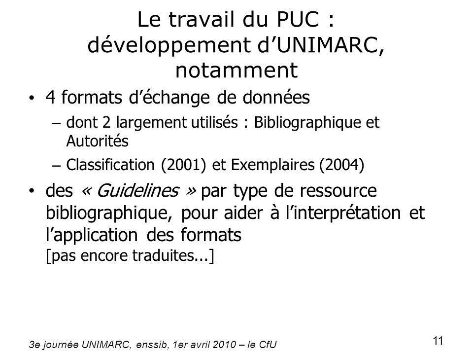 3e journée UNIMARC, enssib, 1er avril 2010 – le CfU 11 Le travail du PUC : développement dUNIMARC, notamment 4 formats déchange de données – dont 2 la