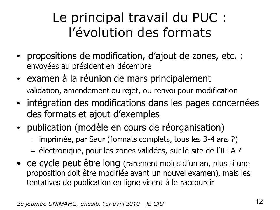 3e journée UNIMARC, enssib, 1er avril 2010 – le CfU 12 Le principal travail du PUC : lévolution des formats propositions de modification, dajout de zo