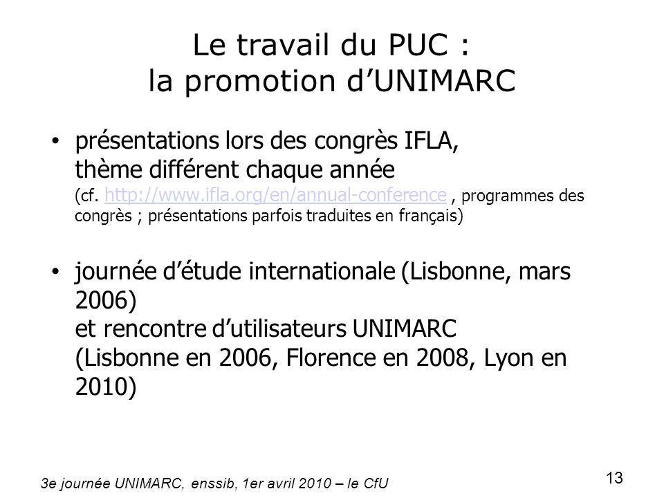 3e journée UNIMARC, enssib, 1er avril 2010 – le CfU 13 Le travail du PUC : la promotion dUNIMARC présentations lors des congrès IFLA, thème différent