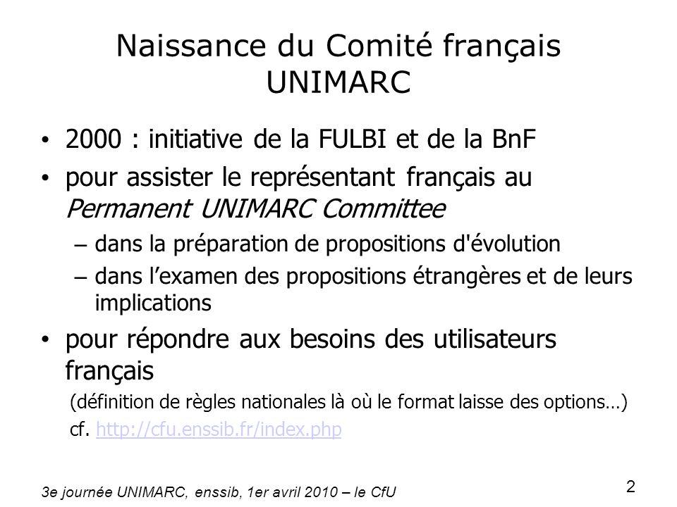 3e journée UNIMARC, enssib, 1er avril 2010 – le CfU 2 Naissance du Comité français UNIMARC 2000 : initiative de la FULBI et de la BnF pour assister le
