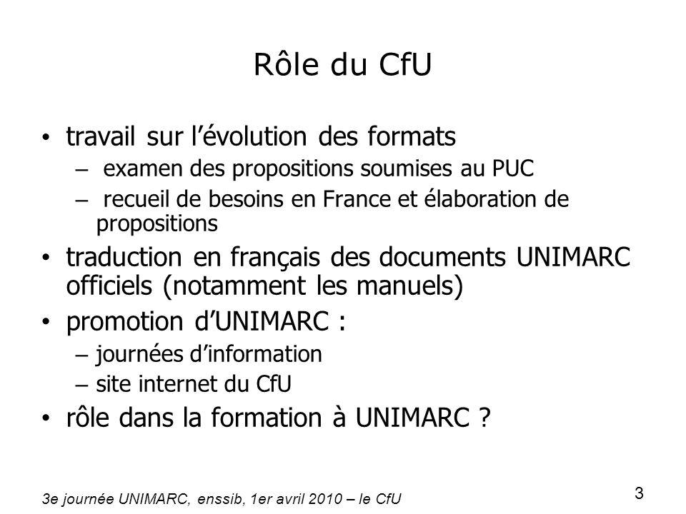 3e journée UNIMARC, enssib, 1er avril 2010 – le CfU 3 Rôle du CfU travail sur lévolution des formats – examen des propositions soumises au PUC – recue