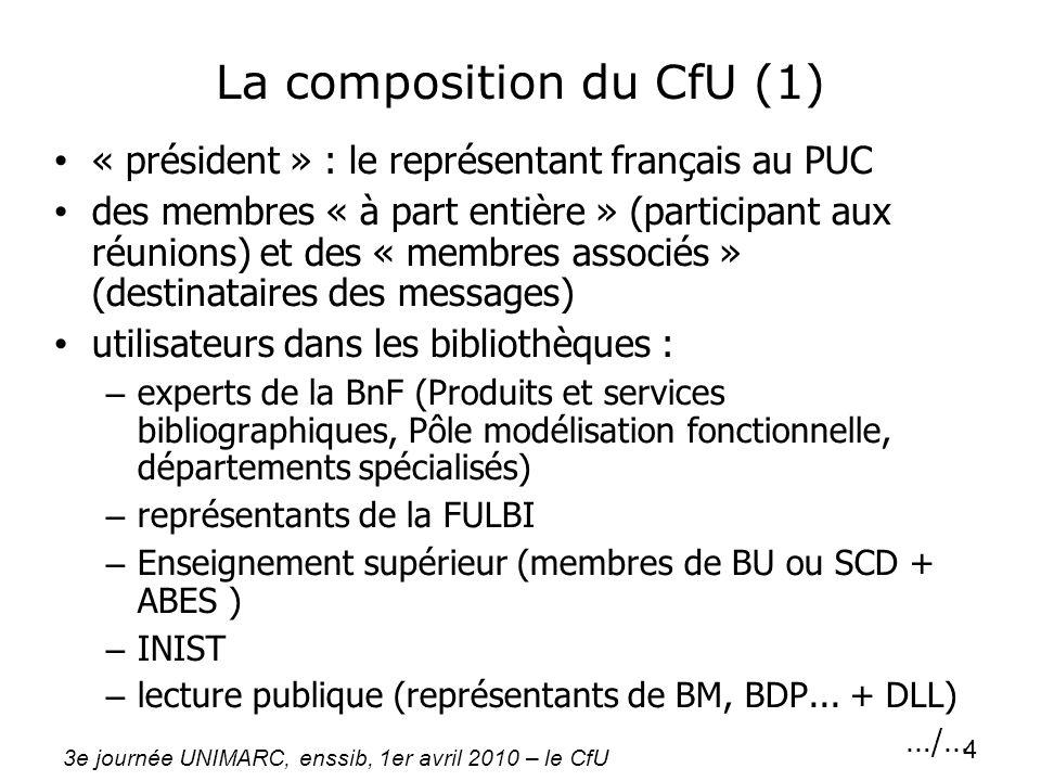 3e journée UNIMARC, enssib, 1er avril 2010 – le CfU 4 La composition du CfU (1) « président » : le représentant français au PUC des membres « à part e