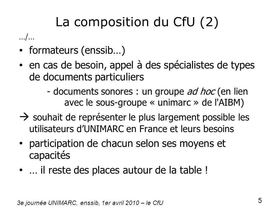 3e journée UNIMARC, enssib, 1er avril 2010 – le CfU 5 La composition du CfU (2) …/… formateurs (enssib…) en cas de besoin, appel à des spécialistes de
