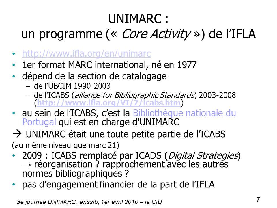3e journée UNIMARC, enssib, 1er avril 2010 – le CfU 7 UNIMARC : un programme (« Core Activity ») de lIFLA http://www.ifla.org/en/unimarc 1er format MA