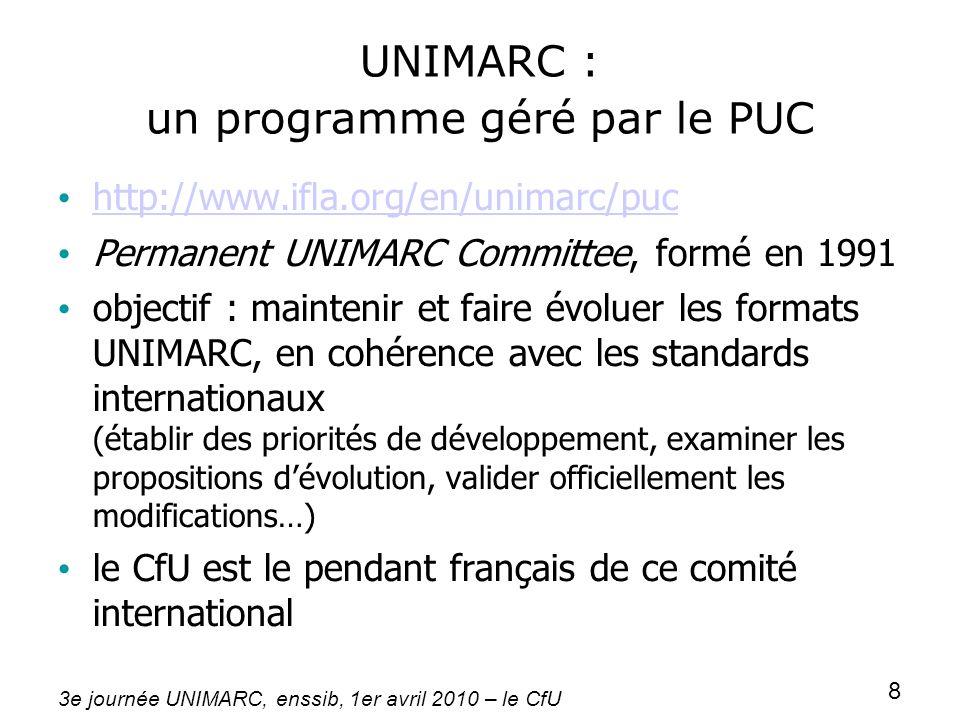 3e journée UNIMARC, enssib, 1er avril 2010 – le CfU 8 UNIMARC : un programme géré par le PUC http://www.ifla.org/en/unimarc/puc Permanent UNIMARC Comm