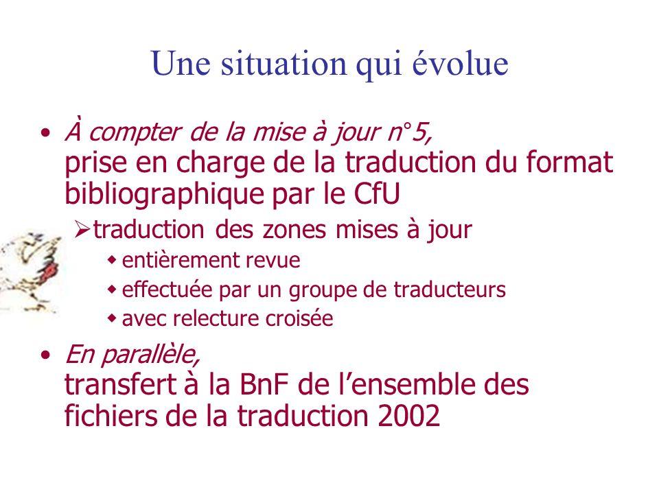 Une situation qui évolue À compter de la mise à jour n°5, prise en charge de la traduction du format bibliographique par le CfU traduction des zones m