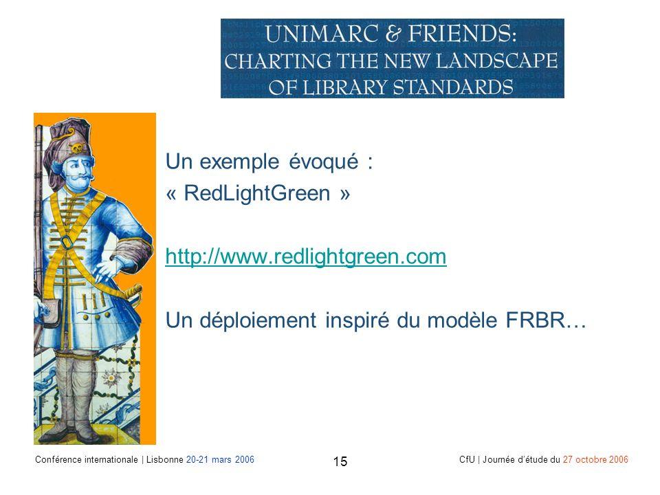 Conférence internationale | Lisbonne 20-21 mars 2006 CfU | Journée détude du 27 octobre 2006 15 Un exemple évoqué : « RedLightGreen » http://www.redlightgreen.com Un déploiement inspiré du modèle FRBR…