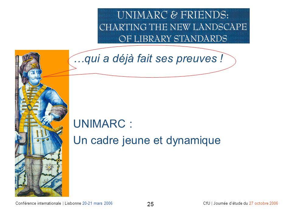 Conférence internationale | Lisbonne 20-21 mars 2006 CfU | Journée détude du 27 octobre 2006 25 …qui a déjà fait ses preuves .