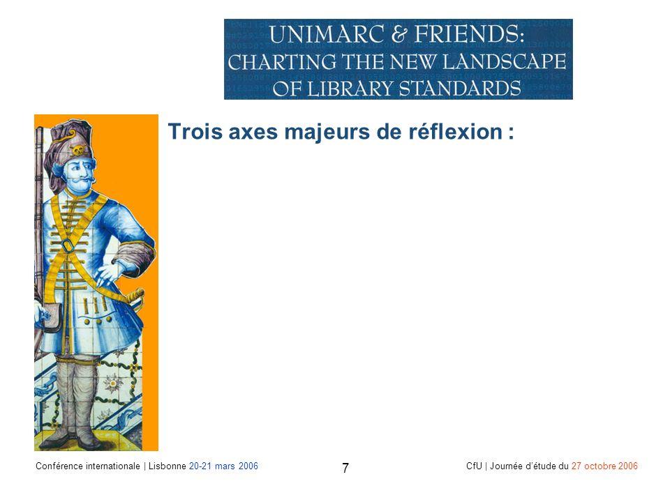 Conférence internationale | Lisbonne 20-21 mars 2006 CfU | Journée détude du 27 octobre 2006 7 Trois axes majeurs de réflexion :