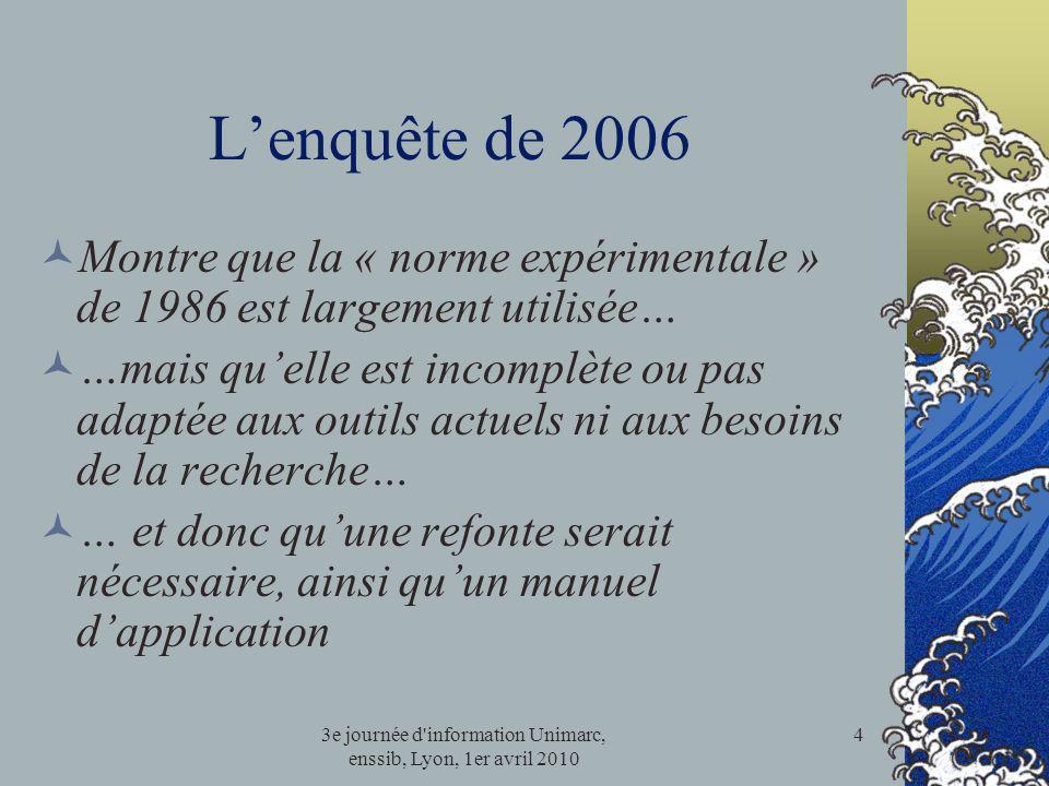 3e journée d'information Unimarc, enssib, Lyon, 1er avril 2010 4 Lenquête de 2006 Montre que la « norme expérimentale » de 1986 est largement utilisée