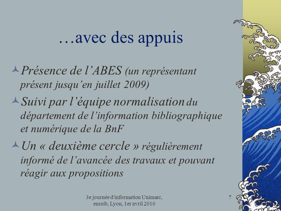 3e journée d'information Unimarc, enssib, Lyon, 1er avril 2010 7 …avec des appuis Présence de lABES (un représentant présent jusquen juillet 2009) Sui