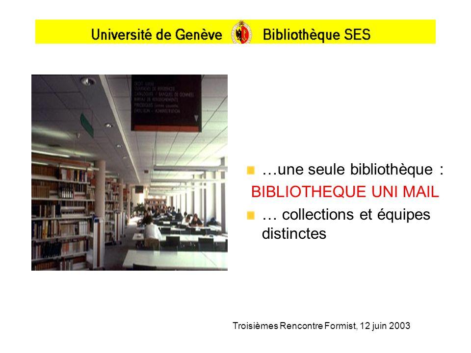 Troisièmes Rencontre Formist, 12 juin 2003 …une seule bibliothèque : BIBLIOTHEQUE UNI MAIL … collections et équipes distinctes
