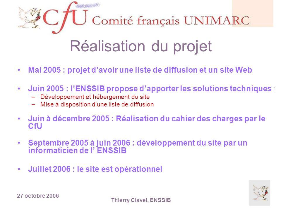 27 octobre 2006 Thierry Clavel, ENSSIB