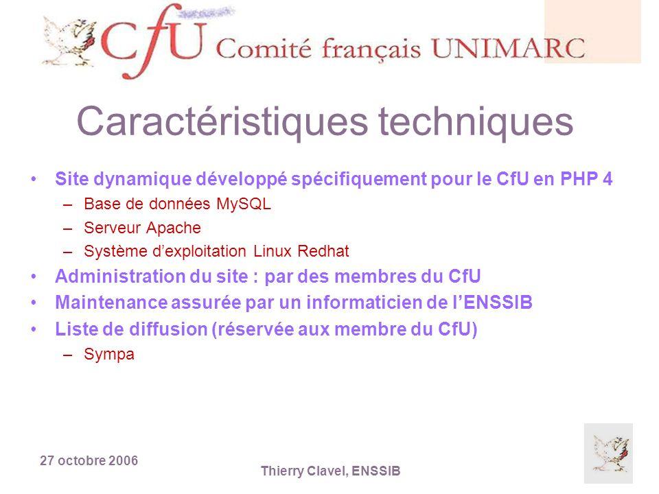 27 octobre 2006 Thierry Clavel, ENSSIB Présentation du site Accès direct : http://cfu.enssib.fr/http://cfu.enssib.fr/ Accès par la page daccueil du site de lENSSIB (sites partenaires) : http://www.enssib.fr http://www.enssib.fr