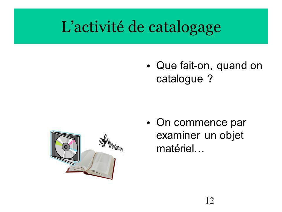 12 Lactivité de catalogage Que fait-on, quand on catalogue .