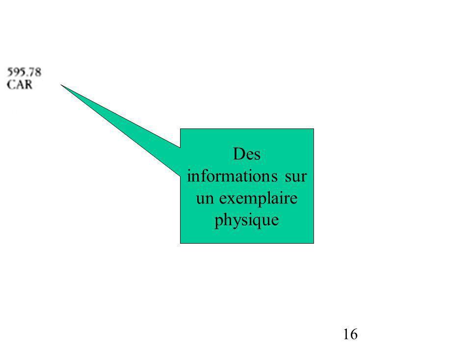 16 Des informations sur un exemplaire physique